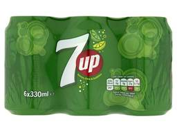 7UP Sparkling Lemon and Lime Drink Cans, 6 x 330 ml