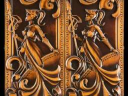 Резные деревянныые нарды «Спартанка» ручной работы